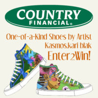 Country Financial - One of a Kind Shoes by Artist kasmos.kari blak - Enter to Win!