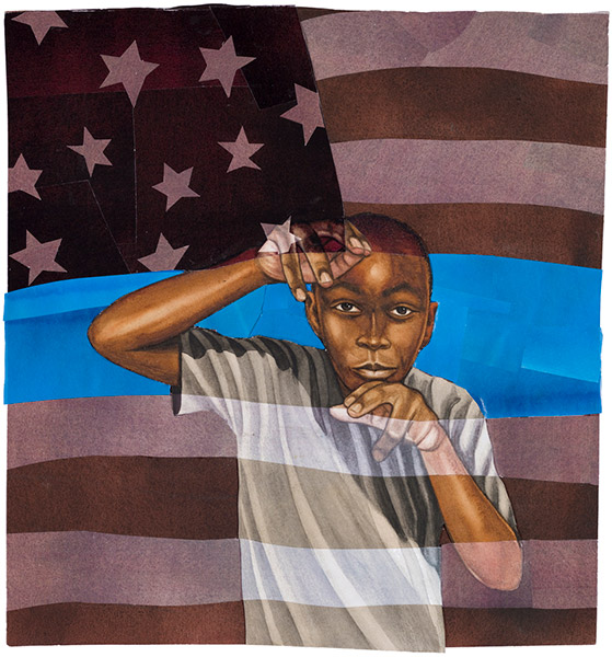 Boy and Flag by Bryan Collier